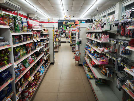 CHIANG RAI, THAILAND - JANUARY 10 : inside view of 7-eleven with many products on January 10, 2019 in Chiang rai, Thailand.