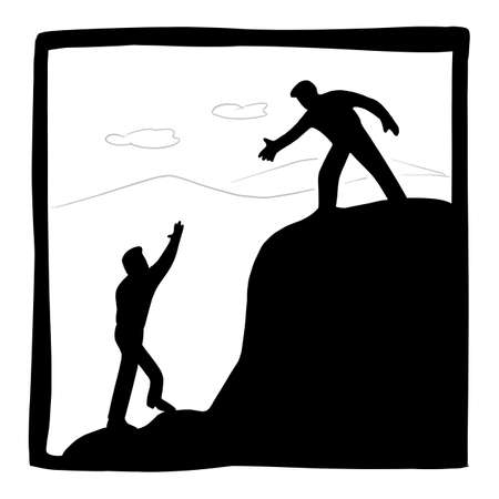 businessman helping each other hike up mountain vector illustration with black lines isolated on white background. Business teamworl concept. Illustration