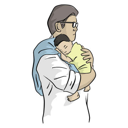 father holding his newborn baby tenderly vector illustration with black lines isolated on white background. Love concept.