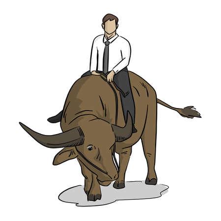 businessman riding buffalo vector illustration with black lines isolated on white background Illustration