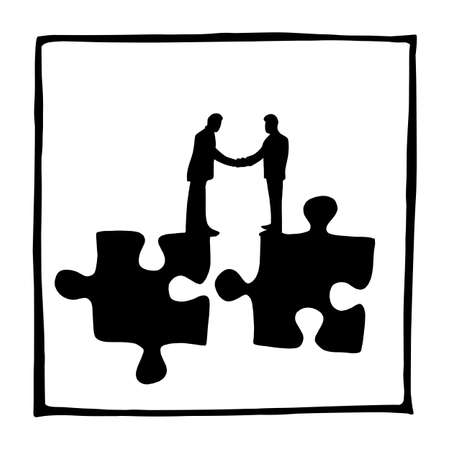 silhouette two businessmen shaking hands on jigsaw vector illustration sketch doodle hand drawn isolated on white square background. Business concept.