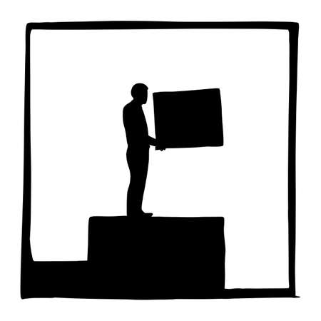 silhouette metaphor businessman building steps for his career vector illustration sketch doodle hand drawn isolated on white square background. Business concept.