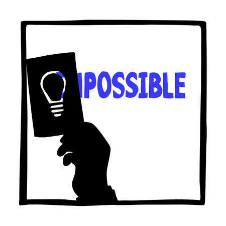 silhouette hand of businessman using idea to change impossible to possible vector illustration sketch doodle hand drawn isolated on white square background. Business concept.
