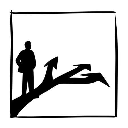 silhouette, uomo affari, standing, davanti, tre, frecce, su, strada asfaltata, vettore, illustrazione, schizzo, scarabocchiare, mano, disegnato, isolato, bianco, quadrato, cornice, fondo. Concetto di affari.