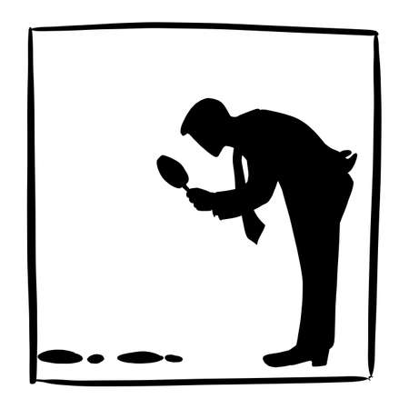 silhouette businessman searching or looking at footprint vector illustration sketch doodle hand drawn isolated on white square frame background. Business concept.