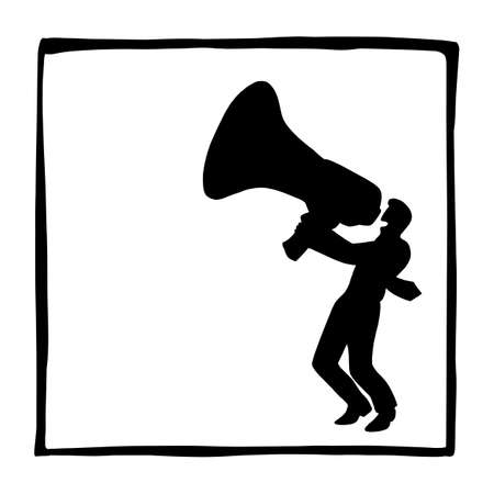 silhouette businessman with a big megaphone vector illustration sketch doodle hand drawn isolated on white square frame background. Business concept.