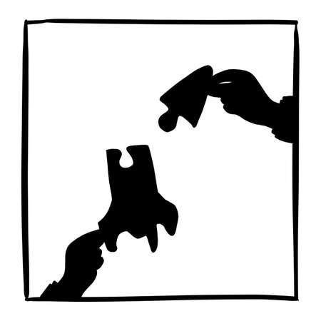 silhouette hand of businessman holding jigsaw of a jet vector illustration sketch doodle hand drawn isolated on white square frame background. Business startup concept. Stock Illustratie
