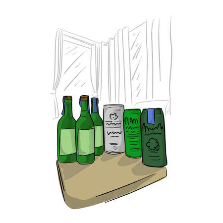 bottle and can of beer on table in the room vector illustration sketch doodle hand drawn with black lines isolated on white background