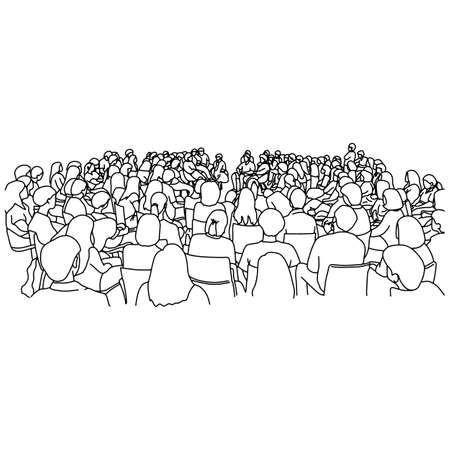 Audiencia en la sala de conferencias ilustración vectorial boceto doodle dibujado a mano con líneas negras aisladas sobre fondo blanco Ilustración de vector
