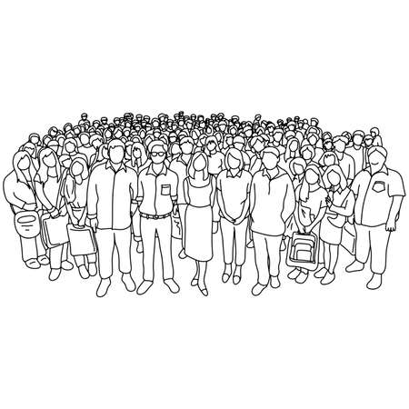 group of people old and young with different social status vector illustration sketch doodle hand drawn with black lines isolated on white background Illustration