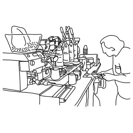 male barista making coffee at his shop vector illustration sketch doodle hand drawn with black lines isolated on white background