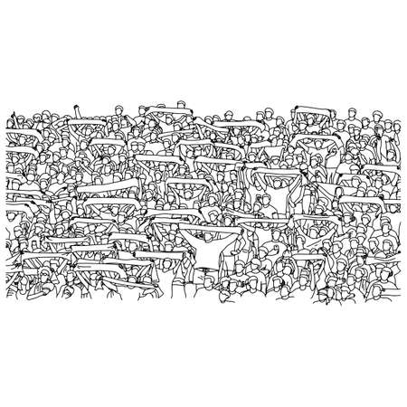 crowd people cheering on stadium vector illustration sketch doodle hand drawn with black lines isolated on white background