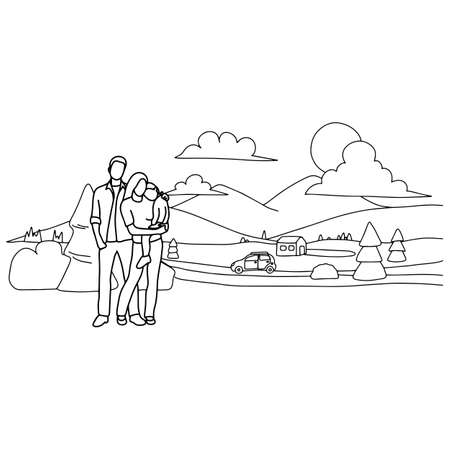 family driving car to travel in the nature tourism location vector illustration sketch doodle hand drawn with black lines isolated on white background 向量圖像