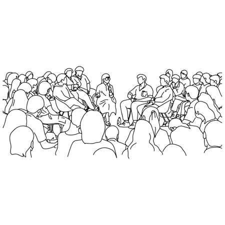 Maestra y estudiantes en la sala de conferencias ilustración vectorial boceto doodle dibujado a mano con líneas negras aisladas sobre fondo blanco Ilustración de vector