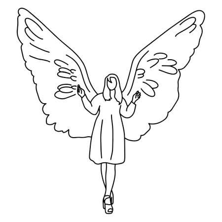 Frau mit großem Flügel auf dem Rücken Vektor-Illustration Skizze Doodle Hand gezeichnet mit schwarzen Linien isoliert auf weißem Hintergrund Vektorgrafik
