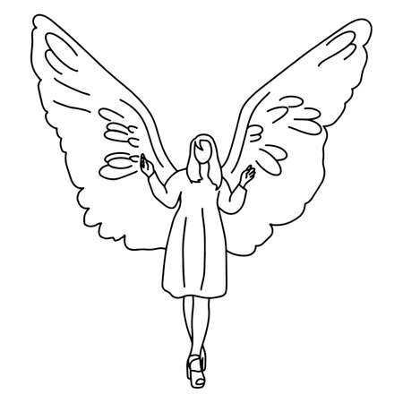 woman with big wing on her back vector illustration sketch doodle hand drawn with black lines isolated on white background Ilustração