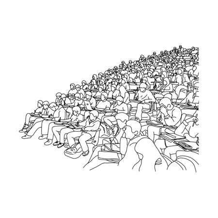college students studying in learning slope room vector illustration sketch doodle hand drawn with black lines isolated on white background