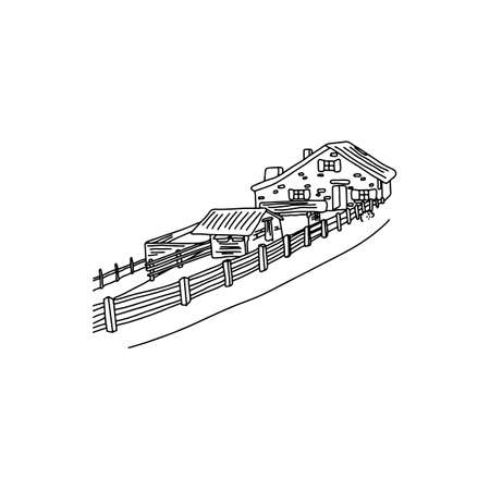 house with fence at countryside in europe area vector illustration sketch doodle hand drawn with black lines isolated on white background