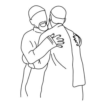 muslim men hugging each other vector illustration sketch doodle hand drawn with black lines isolated on white background