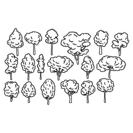 various kinds of tree set vector illustration sketch doodle hand drawn with black lines isolated on white background Illustration