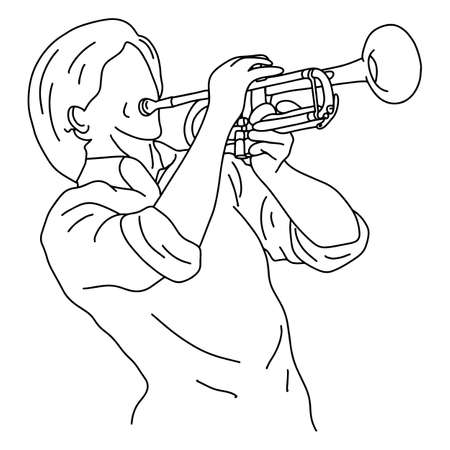 man playing trumpet vector illustration sketch doodle hand drawn with black lines isolated on white background