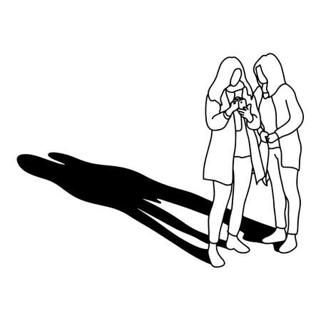 two woman using mobile phone with long shadow vector illustration with black lines isolated on white background Çizim