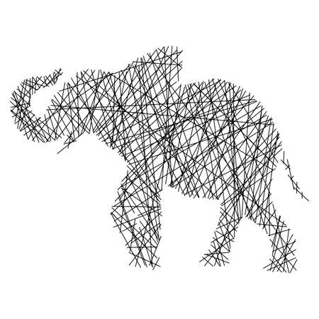 Silhouette elephant with messy straight lines vector illustration isolated on white background Illustration
