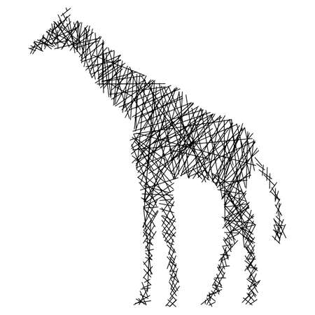 Silhouette giraffe with messy straight lines vector illustration isolated on white background Zdjęcie Seryjne - 124947734