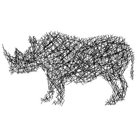 Silhouette rhinoceros with messy straight lines vector illustration isolated on white background
