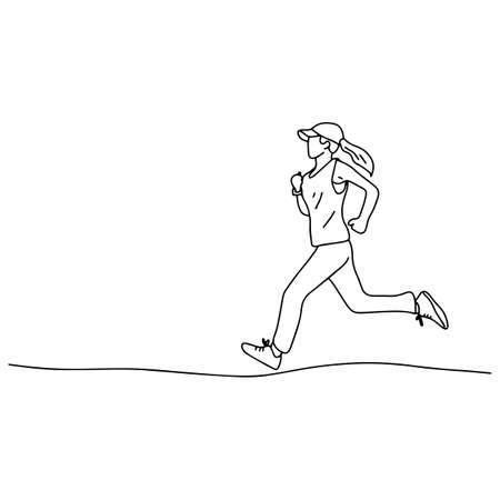 woman with cap jogging vector illustration sketch doodle hand drawn with black lines isolated on white background