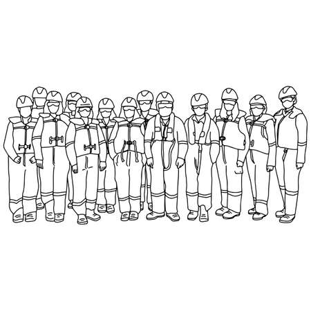 team of workers man and woman in protective suits vector illustration sketch doodle hand drawn with black lines isolated on white background