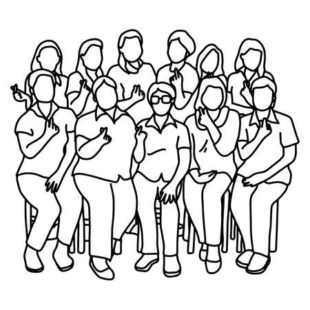 group of women showing heart gesture vector illustration sketch doodle hand drawn with black lines isolated on white background. Teamwork concept. Ilustracja