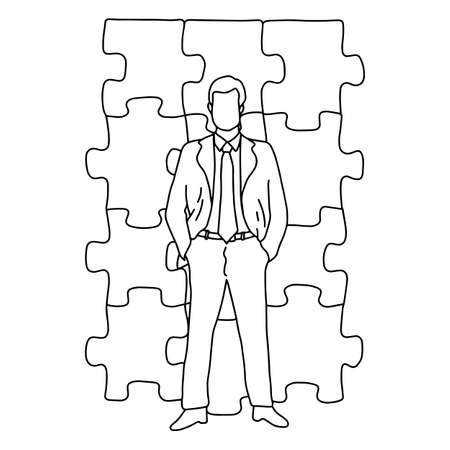 businessman standing in front of jigsaw puzzle vector illustration sketch doodle hand drawn with black lines isolated on white background