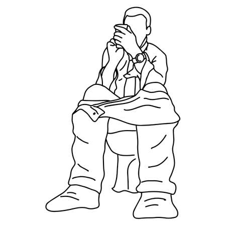 businessman using mobile phone in toilet vector illustration sketch doodle hand drawn with black lines isolated on white background Иллюстрация