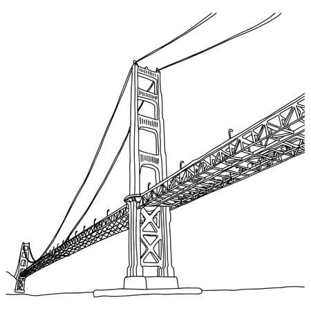 golden gate bridge vector illustration sketch doodle hand drawn with black lines isolated on white background Иллюстрация