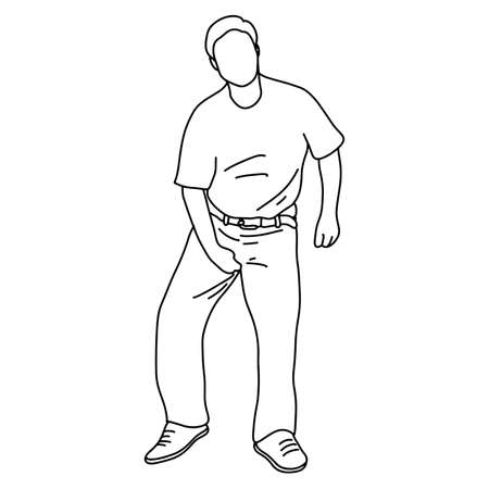 man itching caused by fungus in the underwear vector illustration sketch doodle hand drawn with black lines isolated on white background Stockfoto - 127960114