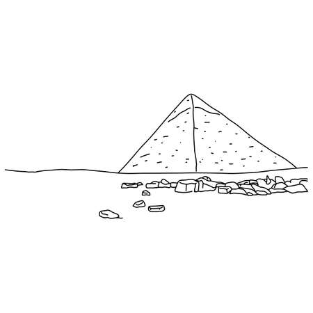 one Great Pyramid of Giza vector illustration sketch doodle hand drawn with black lines isolated on white background Иллюстрация