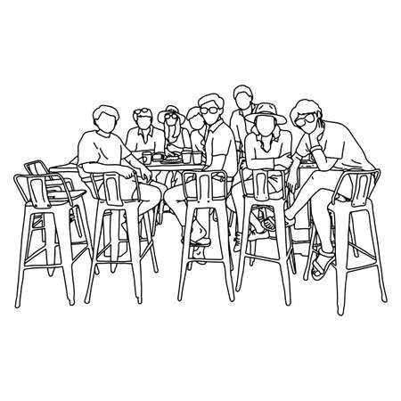 nine people sitting on high chair in the meeting vector illustration sketch doodle hand drawn with black lines isolated on white background