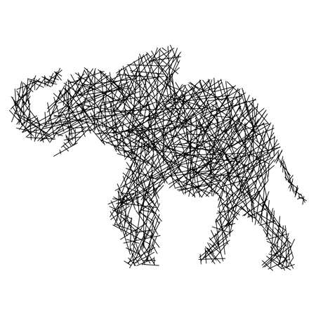 straight lines making elephant body vector illustration sketch doodle hand drawn isolated on white background