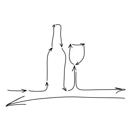Wine glass with bottle made from arrows vector illustration sketch doodle hand drawn with black lines isolated on white background  イラスト・ベクター素材