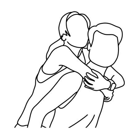 couple piggyback ride vector illustration sketch doodle hand drawn with black lines isolated on white background  イラスト・ベクター素材