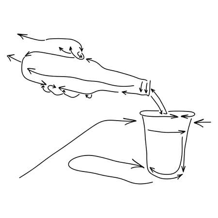 hand pouring water from bottle on glass made from arrow vector illustration sketch doodle hand drawn with black lines isolated on white background