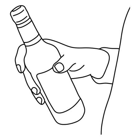 Hand holding bottle of beer vector illustration sketch doodle hand drawn with black lines isolated on white background