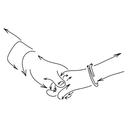 lover holding hand made from arrow vector illustration sketch doodle hand drawn with black lines isolated on white background