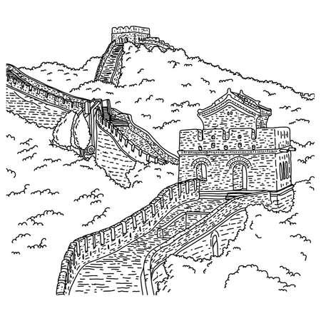 白い背景に隔離された黒い線で描かれた中国ベクトルイラストスケッチ落書き手の万里の長城