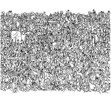 menigte van gelukkige mensen juichen op stadion vectorillustratie schets doodle hand getekend met zwarte lijnen geïsoleerd op een witte background