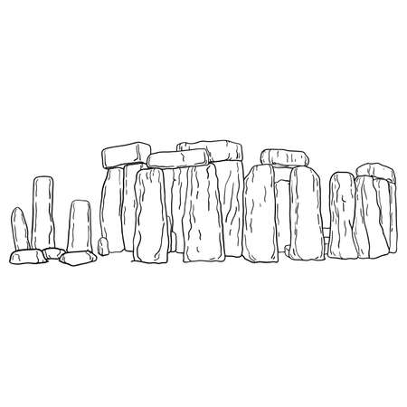Stonehenge in the UK vector illustration sketch doodle hand drawn with black lines isolated on white background