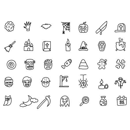 Halloween icon set vector illustration sketch doodle hand drawn with black lines isolated on white background  イラスト・ベクター素材