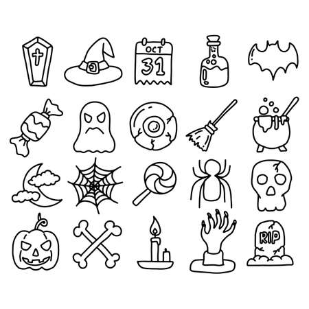 Halloween icon set vector illustration sketch doodle hand drawn with black lines isolated