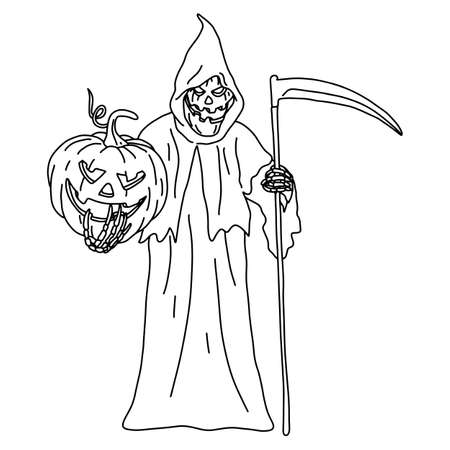 devil holding Halloween pumpkin vector illustration sketch doodle hand drawn with black lines isolated on white background  イラスト・ベクター素材
